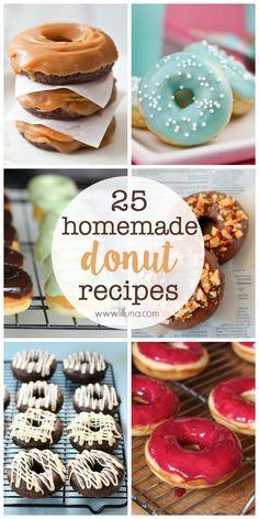 Homemade Donut Recipes 25 Homemade Donut Recipes - so many recipes, so little time! { Homemade Donut Recipes - so many recipes, so little time! Donuts Beignets, Baked Doughnuts, Fried Donuts, Donuts Donuts, Amish Doughnuts Recipe, Churros, Mini Donut Recipes, Cake Donut Recipe Baked, Baking Recipes