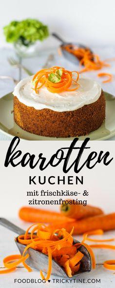 super saftiger karottenkuchen mit zitronen frischkäse frosting ♥ trickytine.com
