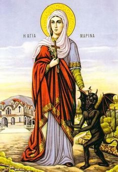St. Marina of Antioch, an early Christian saint and martyr, is commemorated by the Orthodox churches (Greek, Coptic, Russian and others) as the Martyr. This image presents one of her canonic iconographic types - holding a devil by a horn.