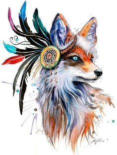 In nature spectrum signierter Kunst Druck Fuchs von PixieColdArt
