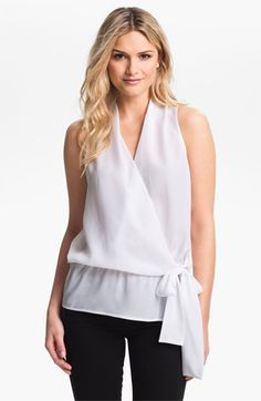 MICHAEL Michael Kors Sleeveless Crossover Blouse available at #Nordstrom Summer sleeveless blouse