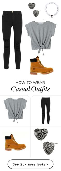 """Casual!"" by julia262003 on Polyvore featuring J Brand, Betsey Johnson, Timberland and WithChic"