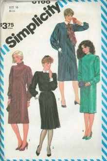 An unused original ca. 1983 Simplicity Pattern 6168.  Misses Tucked Dress: All views have center back zipper, side seam pockets, front tucked to yoke, neckband and long set-in sleeves. V1 has self pleated ruffle V1 and 2 sleeves are pleated to armhole and to cuffs. V2 and 3 have contrast tie, collar, neckband and cuffs. V3 tucks are released below the hipline. V3 and 4 sleeves are gathered to armhole and to French cuffs.