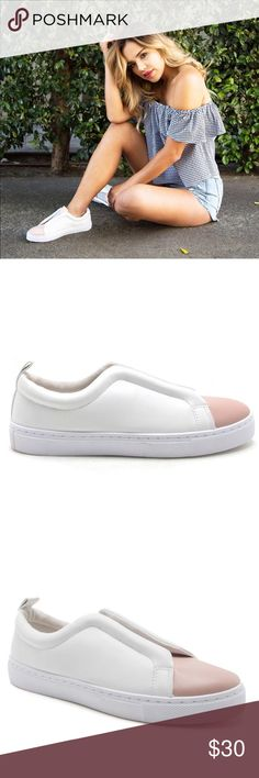 WHITE BANDED SLIP ON SNEAKER WHITE BANDED SLIP ON SNEAKER   SAY HELLO TO YOUR MOST STYLISH KICKS! THESE ELASTIC SLIPS ON FEATURE AN ELASTIC BAND THAT ENSURES A SNUG FIT, A LEATHER UPPER WITH A CONTRASTING TOE CAP, AN EASY SLIP ON DESIGN, AND A PADDED SOLE FOR COMFORT.   MATERIAL: MADE MADE, LEATHERETTE