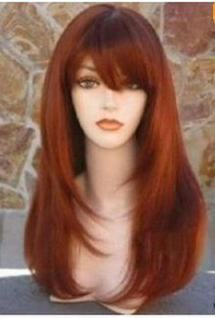 2013 new charming style listed rust red Long wig  +WeavIng cap  AE146