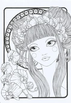 """Articoli simili a Coloring Book """"Floral Girls"""" su Etsy Pattern Coloring Pages, Cute Coloring Pages, Coloring Pages To Print, Adult Coloring Pages, Coloring Sheets, Coloring Books, Girl Watercolor, Art Design, Up Girl"""