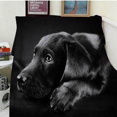 Cozy Soft Easy Care Black Labrador Puppy Artistic Picture Blanket