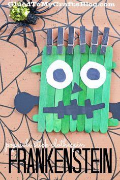 Popsicle Stick Clothespin Frankenstein - Kid Craft