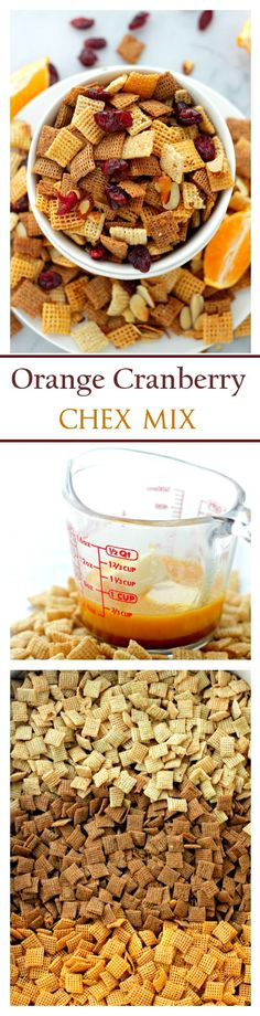 Orange and Cranberry Chex Mix- Super delicious, dangerously addictive and the best snack to bring to your New Year's Eve Party! Snack Mix Recipes, Yummy Snacks, Healthy Snacks, Cooking Recipes, Yummy Food, Snack Mixes, Fall Recipes, Holiday Recipes, Iftar