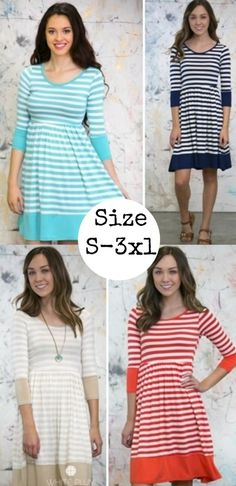 Spring dress Sale, FASHION, KELSEY KNEE LENGTH STRIPED DRESS! S-3XL AVAILABLE! 5 COLORS!