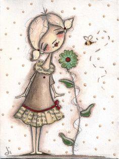 PRINT Of my Original Folk Art Painting - 'Smell the Flowers' - DudaDaze, Diane Duda...