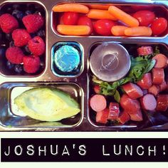"""Joshua's Lunchbox: Applegate Farms hotdogs (GF/DF/grass-fed/humanely raised with spicy mustard for dipping, avocado, berries, carrots, tomatoes, TJ's 3 ingredient honey mints* (honey, dark choc liquor, peppermint oil)"" #PrimalBliss  #Planetbox"