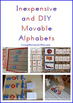 Roundup post with inexpensive movable alphabets and tutorials for DIY movable alphabets of all kinds. Includes links to free printables and directions for presenting the Montessori movable alphabet.