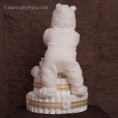 White Polar Bear and Baby Diaper Cake - Back