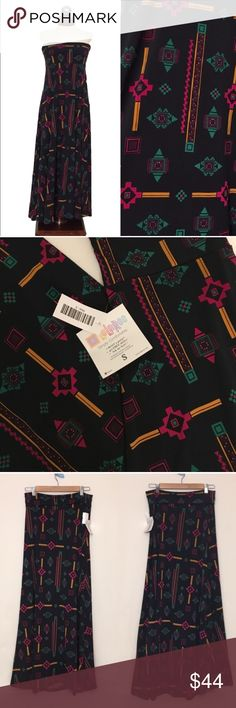 LULAROE maxi skirt southwest block print S New, unworn condition; tags attached.                                Our Maxi skirt is a go-to piece for the woman who wants to be comfortable throughout the day but still likes to look her best. It's perfect for the woman whose demanding day requires function and style from her wardrobe. The LuLaRoe Maxi Skirt can easily be worn while playing on the ground with kids and transitions effortlessly to a night on the town! May be worn as strapless…