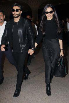 Deepika Padukone and Ranveer Singh twinning in all-black attire! Deepika Ranveer, Deepika Padukone Style, Ranveer Singh, Shraddha Kapoor, Ranbir Kapoor, Aishwarya Rai, Shahrukh Khan, Priyanka Chopra, Bollywood Couples