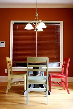 painted kitchen table and chairs. our table needs a serious makeover, and i don't feel like refinishing it!