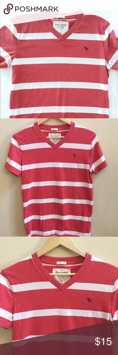 Abercrombie and Fitch Teeshirt Casual red/orange striped teeshirt, great used condition, stripes are a closet staple, perfect with jeans and shorts, poly cotton blend, length 25in, bust 17 in Abercrombie & Fitch Tops Tees - Short Sleeve