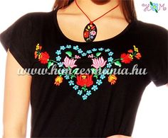 Embroidery Mania - T-shirt dress hungarian folk hand-embroidered - black