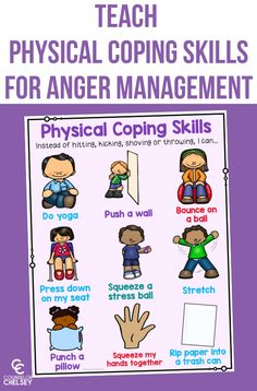 Teaching Physical Coping Skills For Anger Management — Counselor Chelsey Emotions Activities, Social Skills Activities, Counseling Activities, Therapy Activities, School Counseling, Elementary Counseling, Career Counseling, Anger Coping Skills, Coping Skills Worksheets