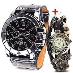 Fashion Wide Leather Band Strap Men Quartz Wrist Watch + Butterfly Pandent Quartz Wrist Bracelet Bangle KB-377857