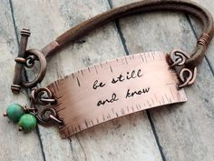 Be Still and Know Bracelet, Christian Jewelry, Copper and Leather Bracelet, Religious Jewelry, Bible Verse Psalm 46:10