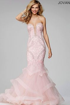 Pink Jovani Gown Beautiful strapless mermaid dress features a beaded bodice and tiered tulle skirt. The designer is Jovani Sherri Hill Dresses Prom Prom Dresses Jovani, Prom Dresses 2016, Pink Prom Dresses, Pageant Gowns, Cheap Prom Dresses, Nice Dresses, Evening Dresses, Wedding Dresses, Prom 2016