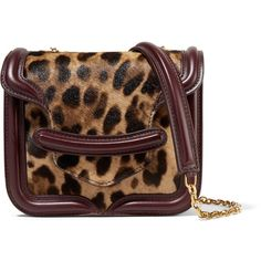 Alexander McQueen - Heroine Leopard-print Calf Hair And Leather... ($1,205) ❤ liked on Polyvore featuring bags, handbags, shoulder bags, leopard print, brown leather purse, brown leather shoulder bag, brown handbags, leopard print purse and leather handbags