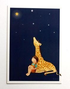 Cartão Postal - Postcard - Ilustração Infantil - Menino e girafa II