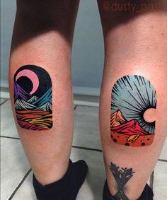 Matching landscapes on both calves. Artista Tatuador: Eugene Nedelko · Dusty Past