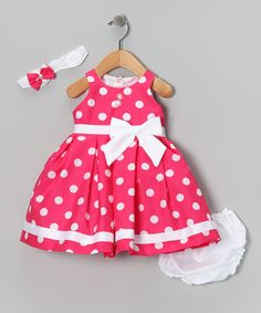 Look at this #zulilyfind! Pink Giant Polka Dot Dress Set - Infant by Shanil #zulilyfinds