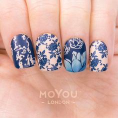 Don't forget to grab your Winter bloom bundle! ❄ Product Used: Suki Pro 08 (XL & Flower Power 05 // Nail Polishes: Midnight Madness, Cafe au Lait, & Deep Ocean. Moyou Stamping, Stamping Nail Art, Stamping Plates, Pretty Nails, Fun Nails, Crazy Nails, Asia Nails, Flower Power, Nail Art Techniques