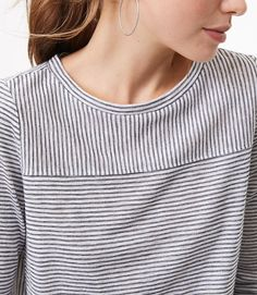 Color Swatch 6443Shimmer Stripe Seamed Long Sleeve Tee