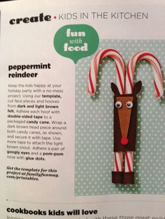 Peppermint Reindeer from Family Fun magazine Fun Crafts To Do, Craft Projects For Kids, Craft Ideas, Family Fun Magazine, T Rex, Candy Cane, Holiday Parties, Light In The Dark, Holiday Crafts