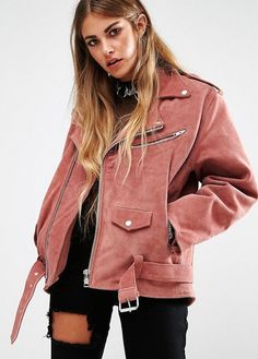 Must-Have: The Oversized Pink Suede Moto Jacket