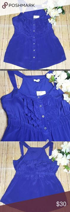 """NWT Antropologie Odille Prevailing Winds Tank Top NWT Antropologie Odille Prevailing Winds Colbalt Blue Tank Top 100% Silk. Size 0. Bust 16 1/2"""" (armpit to armpit). Anthropologie Tops Tank Tops"""