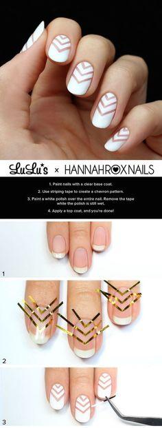 White chevron nail art made easy! Photo via Lulu's