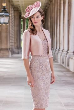 John Charles 26182A Pretty Embroidered Overlay Dress with Matching Jacket in Dusky Pink