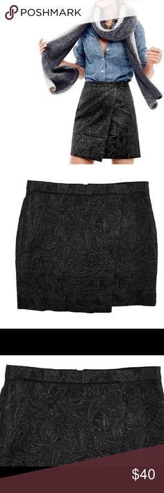 "HPNew JCREW OrigamiMetallic Matelasse Mini Skirt NWOT. This new black origami mini skirt from JCREW features a textured black metallic shimmer material, back zipper closure and is fully lined. Made of cotton/polyester/metallic blend. Measures: waist: 29"", Hips: 37"", total length: 16"" J. Crew Skirts Mini"