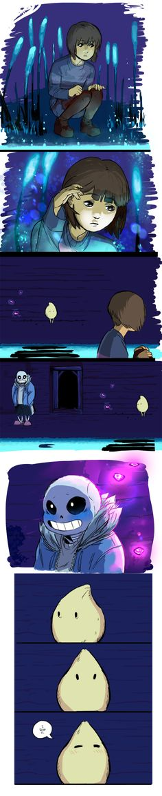 "<< PART 1 || PART 3 >> IF YOU FLIP THE 4TH PANEL, IT READS LIKE SANS IS CALLING FRISK A ""HO"" FOR LEAVING. I apologize if the dialogue seems a bit scrambled since my time with this ..."