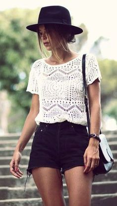 crochet top, hat and shorts