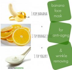 Banana Face Mask Recipes for Radiant Skin An easy at home DIY banana face mask to remove wrinkles and make skin look young!An easy at home DIY banana face mask to remove wrinkles and make skin look young! Easy Homemade Face Masks, Face Scrub Homemade, Homemade Facials, Banana Face Mask, Acne Face Mask, Skin Mask, Face Skin, Image Skincare, Homemade Beauty Tips