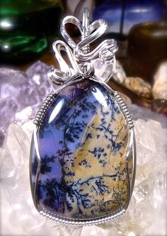 Wire Wrapped Dendritic AMETHYST SAGE AGATE by CrawfordStones
