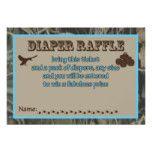 Blue Hunting Camo Baby Shower Diaper Raffle Card