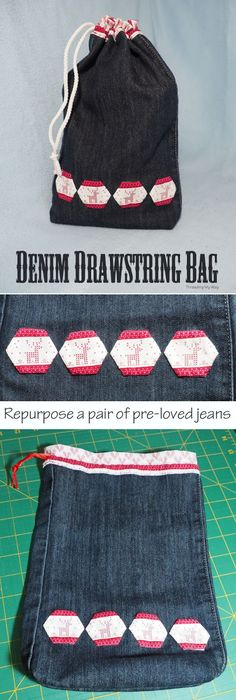 Repurpose a pair of pre-loved jeans and make a denim drawstring bag. Pop something inside and you have two gifts in one. Tutorial by Threading My Way.