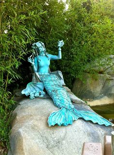 Mermaid Living Statue with a Gorgeous Patina www.SmashPartyEntertainment.com