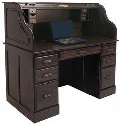 Deluxe Solid Oak Laptop Roll Top Desk