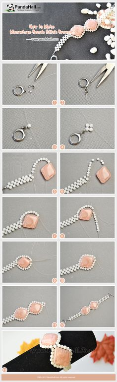 How to Make Moonstone Beads Stitch Bracelet By using moonstone beads and rhombus gemstone beads, you can stitch them into an exquisite wide bracelet! Follow me to have a try! #bracelet #gemstone #diy #tutorial #pandahalldiy #jewelry #pandahalljewelry #promotion