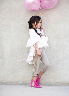 Tuxedo Leggings in Gold Umber Little Girl Fashion, Toddler Fashion, Bohemian Kids, Children's Boutique, Boho Tops, Fashion Forward, Ballet Skirt, Ruffle Blouse, Pink
