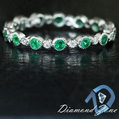 EMERALD GREEN SATURATION DIAMOND NATURAL ETERNITY BAND WHITE GOLD WEDDING RING  Note: ask seller to have ring sized up (by using the adding stones method) two full ring sizes.